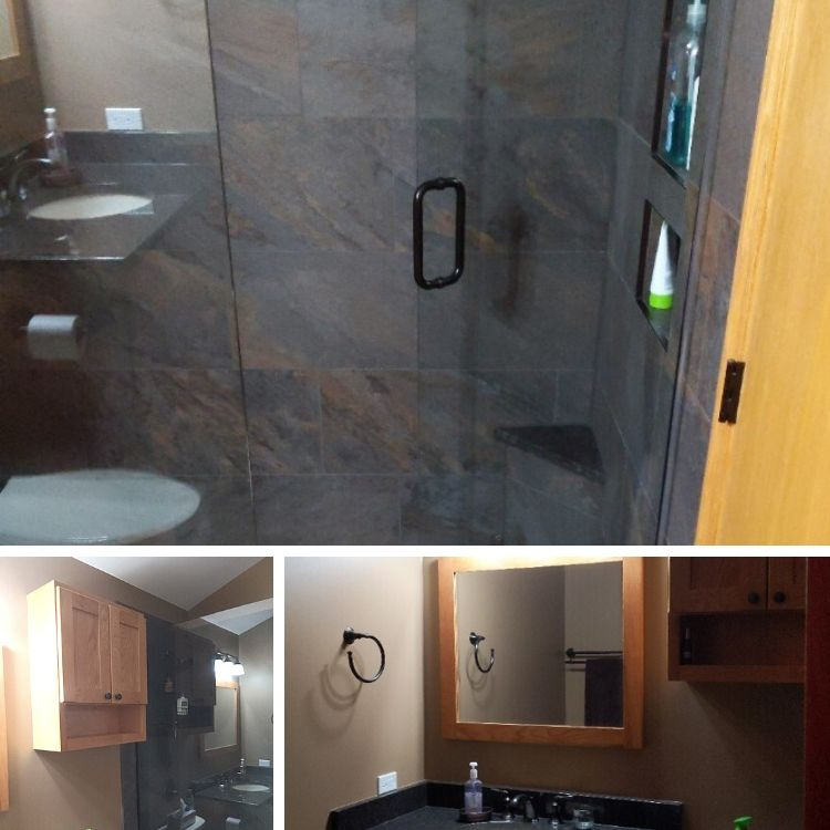 A Warm Cabin Style Makeover for this Aurora Master Bathroom